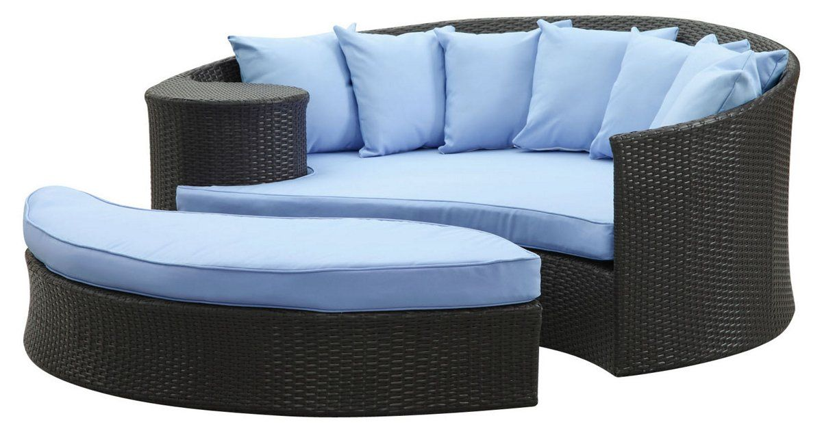 Wicker Patio Furniture Outdoor Daybed, Half Circle Patio Furniture