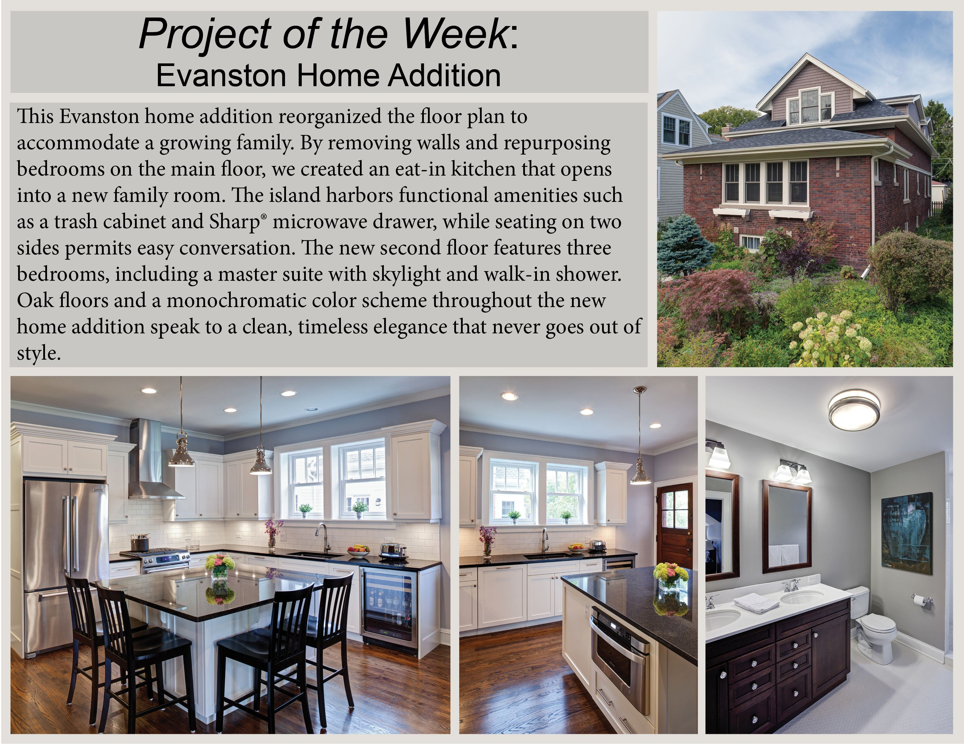 #ProjectOfTheWeek: This Evanston home addition reorganized the floor plan to accommodate a growing family. By removing walls and repurposing bedrooms on the main floor, we created an eat-in kitchen that opens into a new family room.