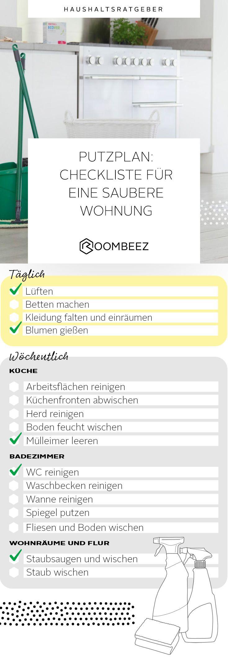 Putzplan mit Checkliste zum Ausdrucken �