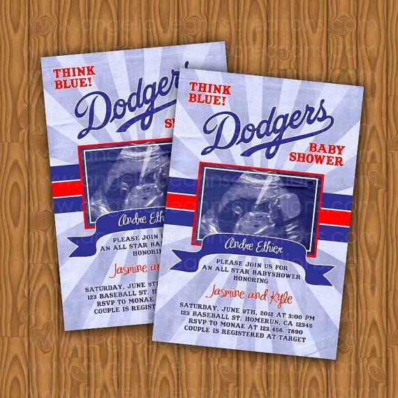 Dodgers Baby Shower Invitations All star DIY by jayarmada2 on Etsy