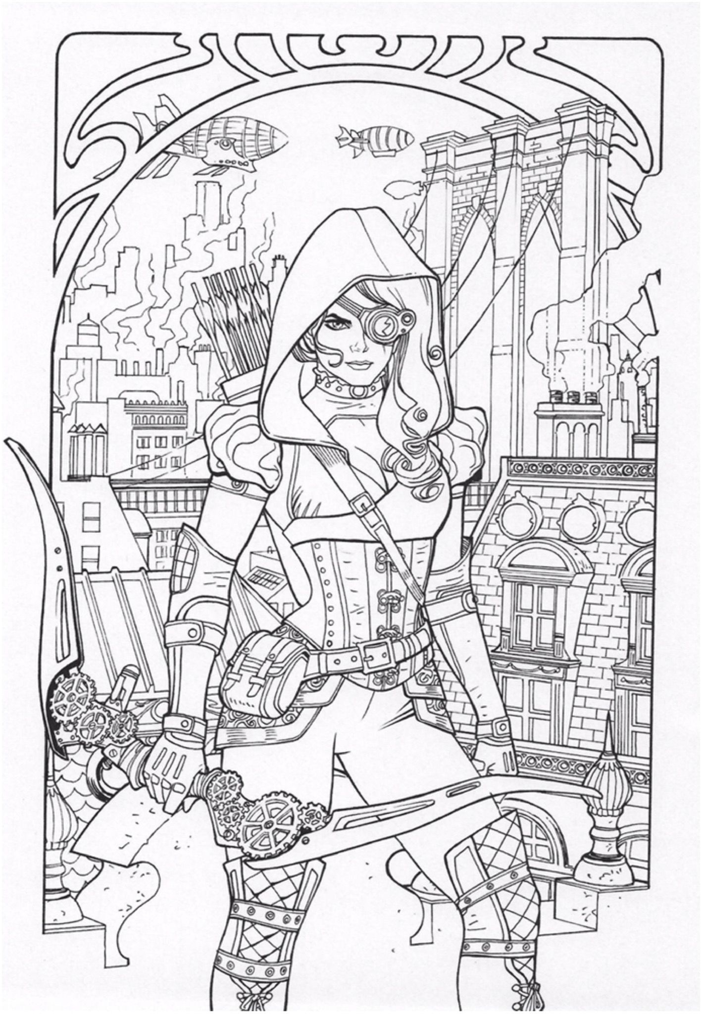 Steampunk coloring page Adult coloring book pages, Adult