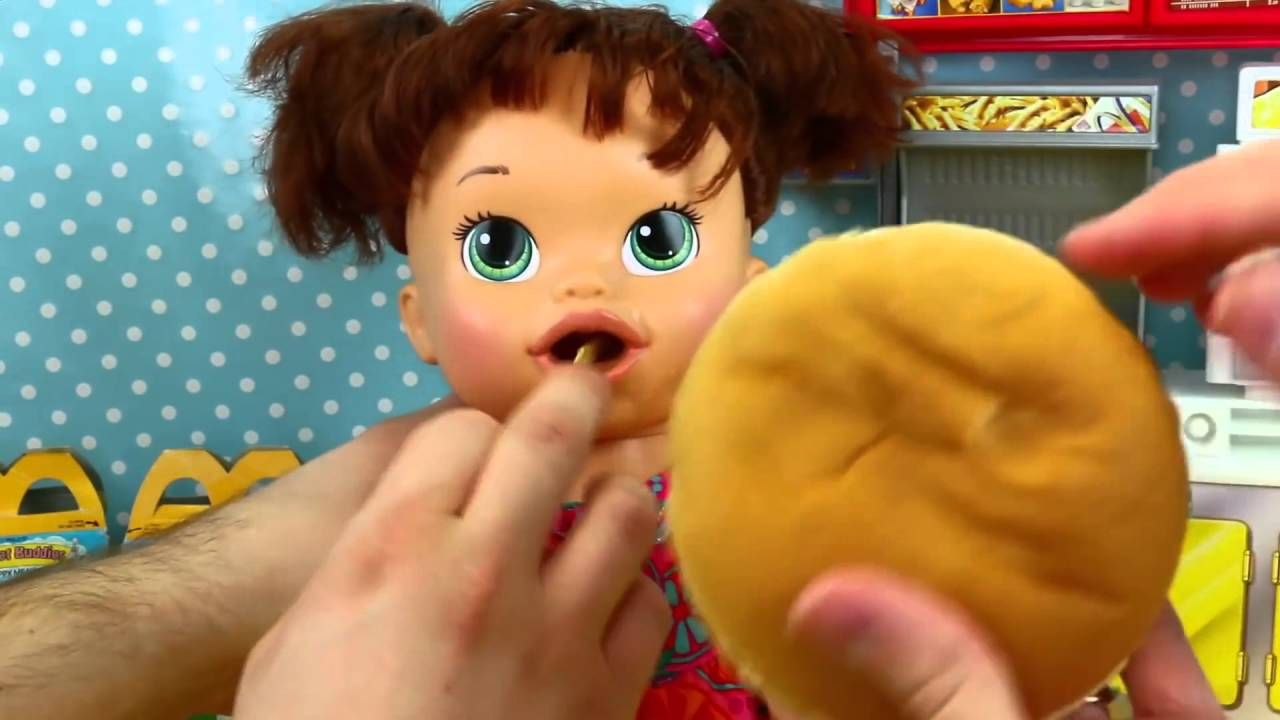 Baby Alive EATS REAL McDonlads Happy Meal Burger Fries + Open Prize Toy ...