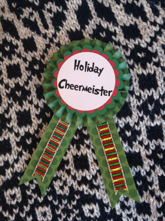 Christmas Party Award Ideas Part - 32: Holiday Cheermeister Pin / Grinch Award / Christmas Party Award / Grinchmas  / Ugly Christmas Sweater