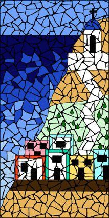 Completed Greek Island Mosaic Mandala Kit Created In Ceramic Tiles Design By Brett Campbell Mosaics