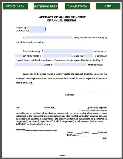 Affidavit Form For Mailing Of Notice Of Annual Meeting Free Fillable Pdf Forms Annual Meeting Meeting Annual