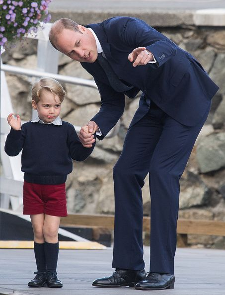 Prince William, Duke of Cambridge and Prince George of Cambridge arrive to depart Victoria by sea plane on October 1, 2016 in Victoria, Canada.