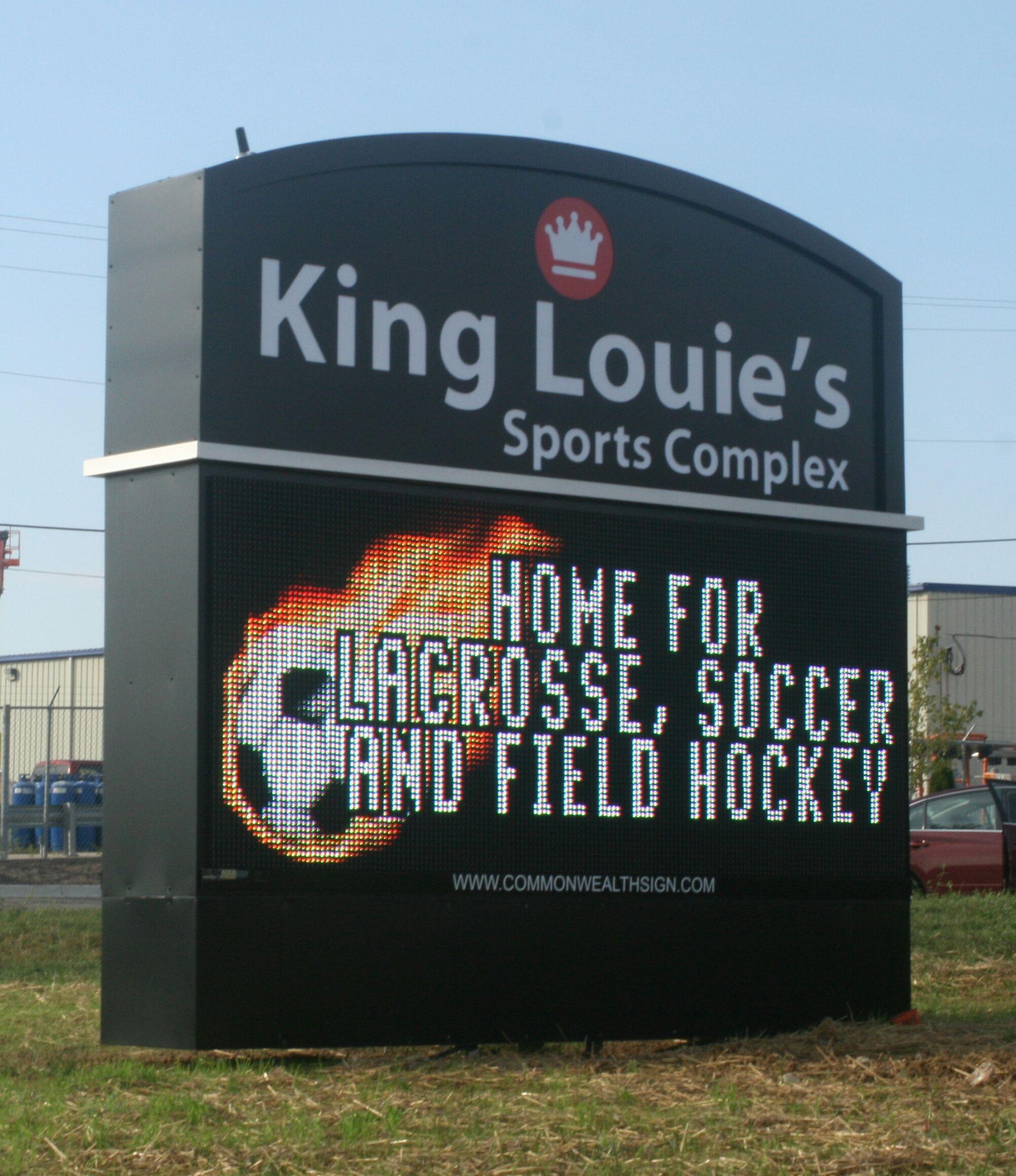 King Louie' Sports Complex Custom Sign Boasts 4' X 10
