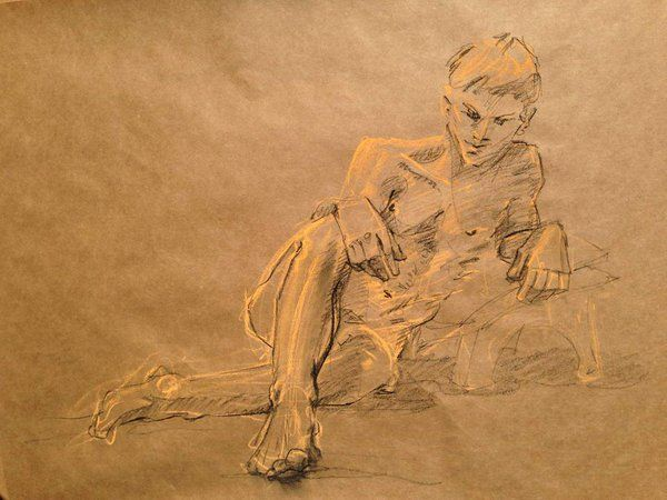 Line Drawing Of Human Face : Life drawing figure human body model pose gesture male