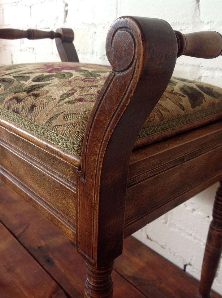 Victorian Piano Stool Stripped Repaired Re Polished And Traditionally Reupholstered Piano Stool Upholstery Reupholster