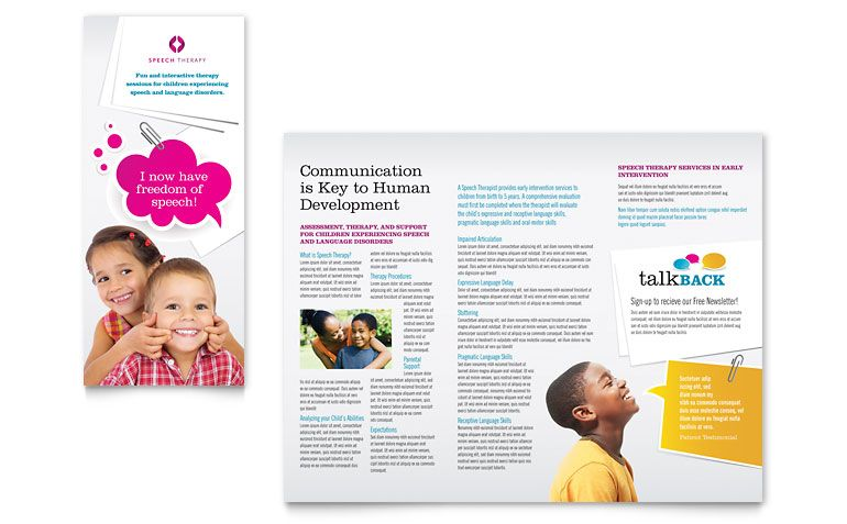Speech Therapy Education Tri Fold Brochure Template Design By StockLayouts  Free Brochure Templates For Word To Download