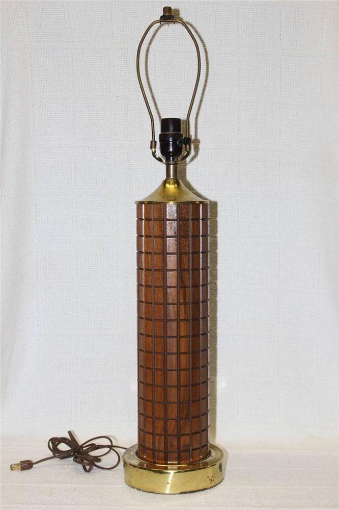 SKYSCRAPER MONUMENTAL MID CENTURY MODERN DANISH TEAK AND BRASS LAMP