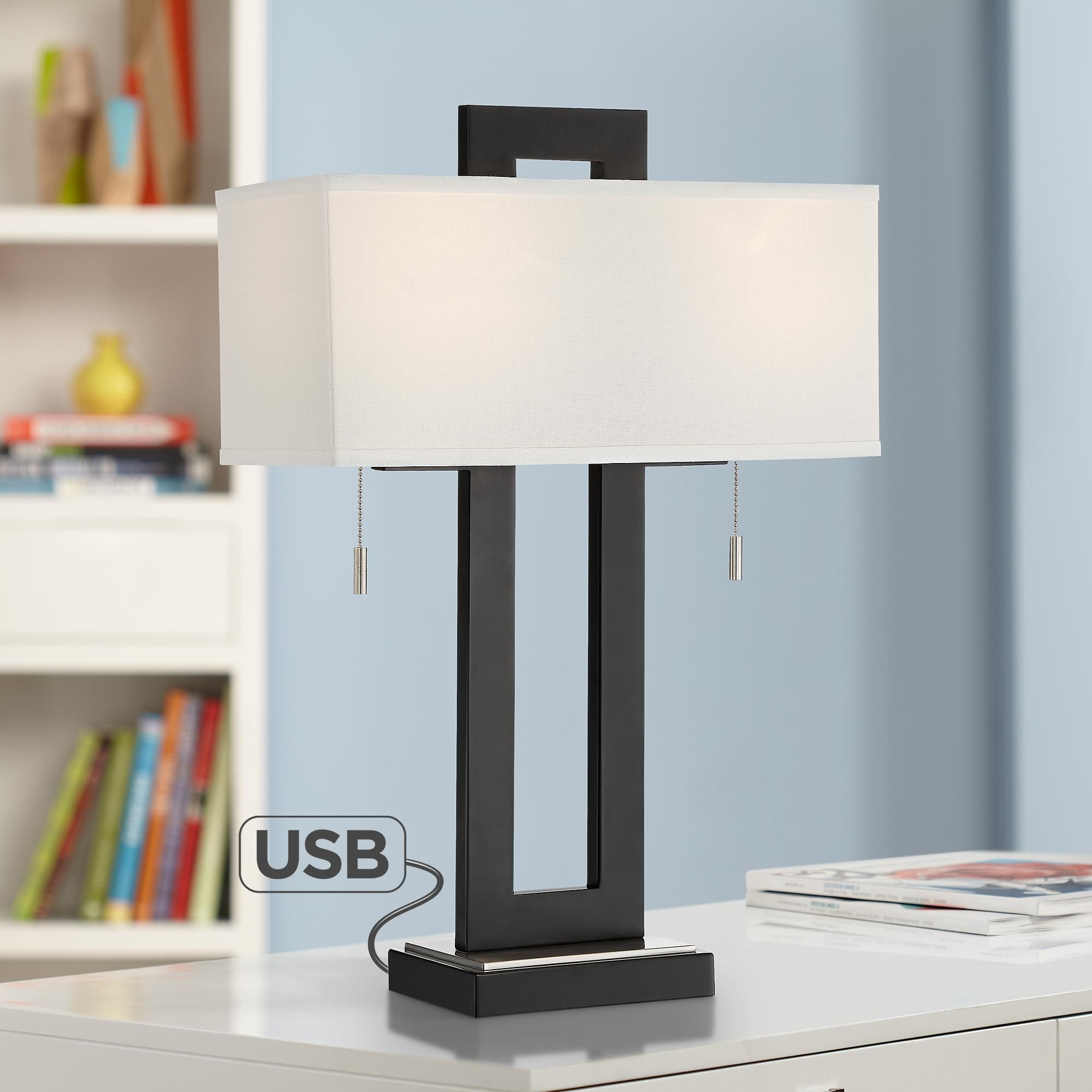 Neil Modern Metal Table Lamp With Usb Port Modern Table Lamp