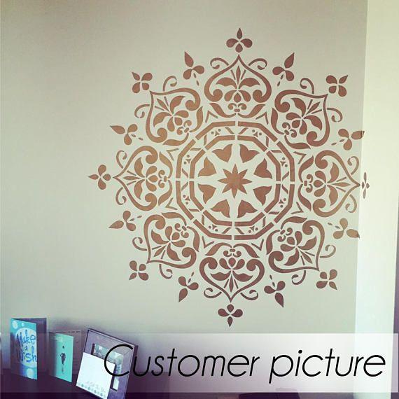 Mandala style stencil furniture stencil wall painting stencils living room corner - Schablone wandmalerei ...