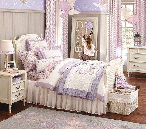 lila-Gardinen-Mädchenzimmer-gestalten-Deko-Ideen-Schmetterlinge - gardinen schlafzimmer gestalten