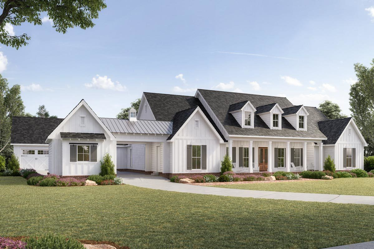 Plan 56454sm Country Classic With Porte Cochere