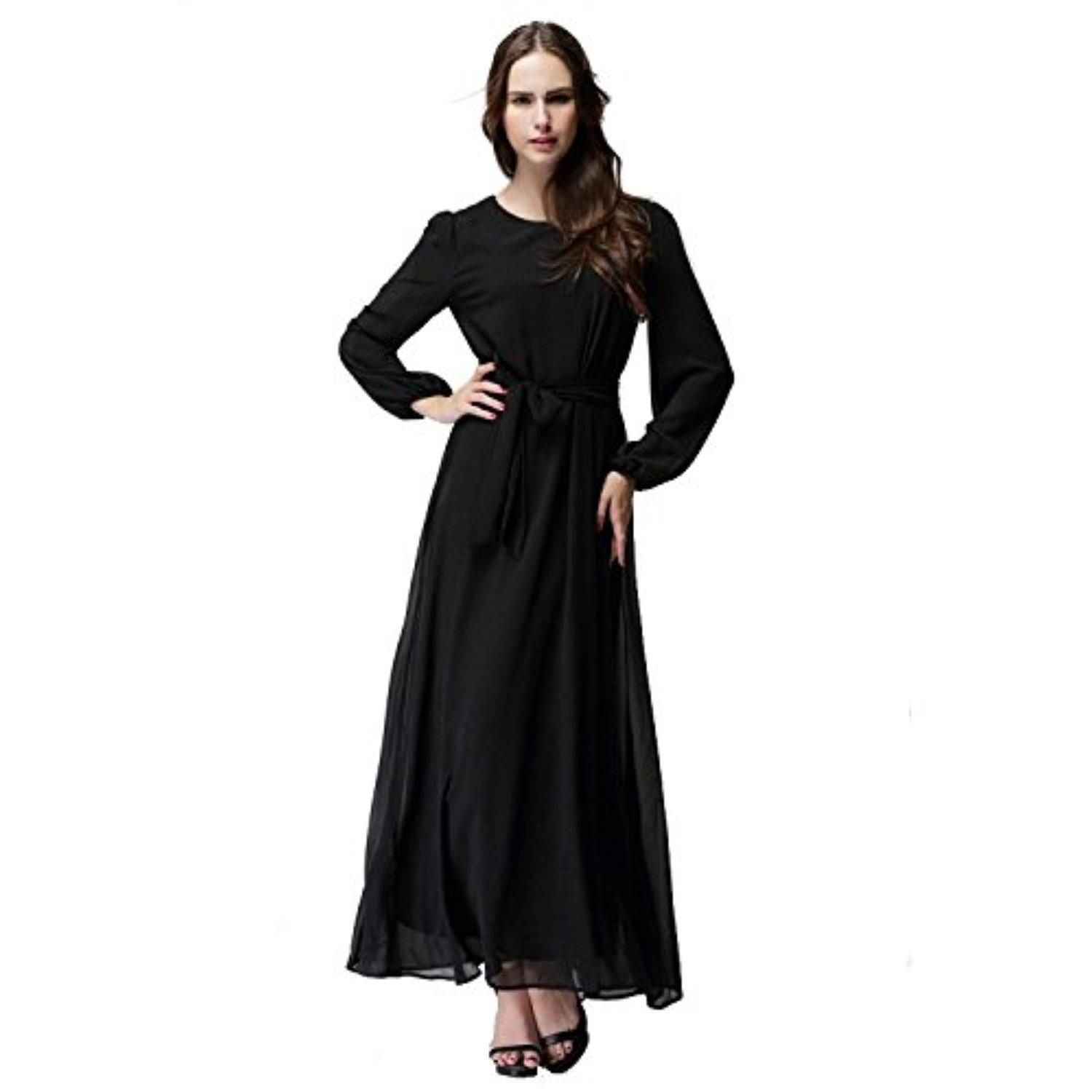 Aro lora womenus muslim kaftan abaya long sleeve chiffon maxi dress