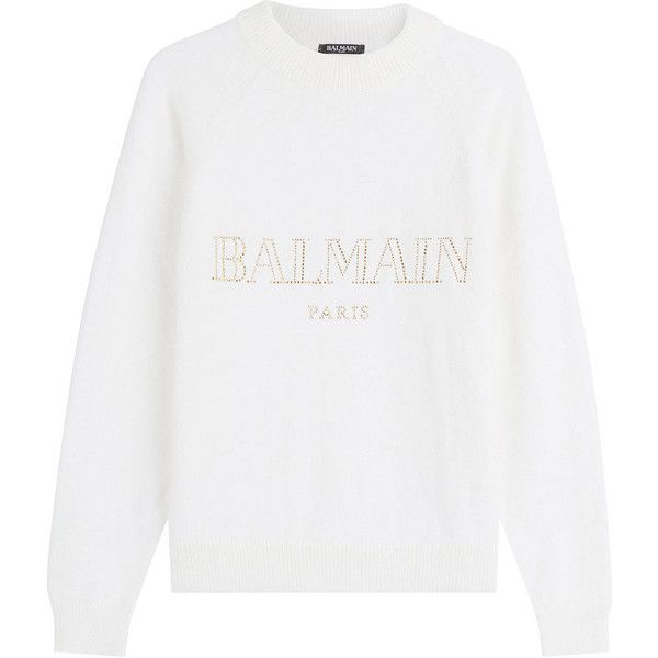 Balmain Embellished Angora Pullover ($1,445) ❤ liked on Polyvore featuring tops, sweaters, shirts, jumpers, sweatshirts, white, pullover shirt, slim fit shirts, shirt top and logo shirts