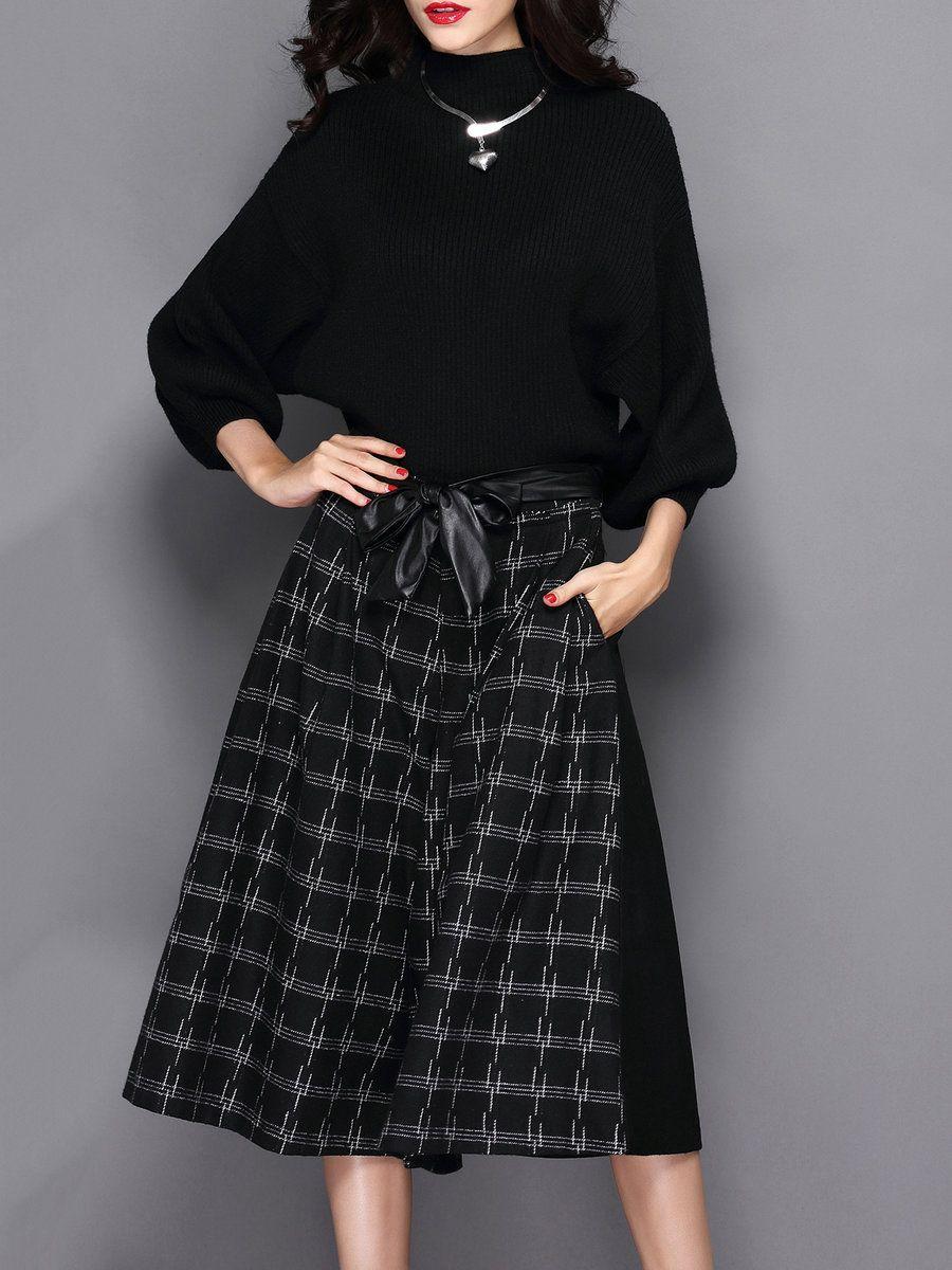 Adorewe stylewe mooerkerr black turtleneck sleeve two piece
