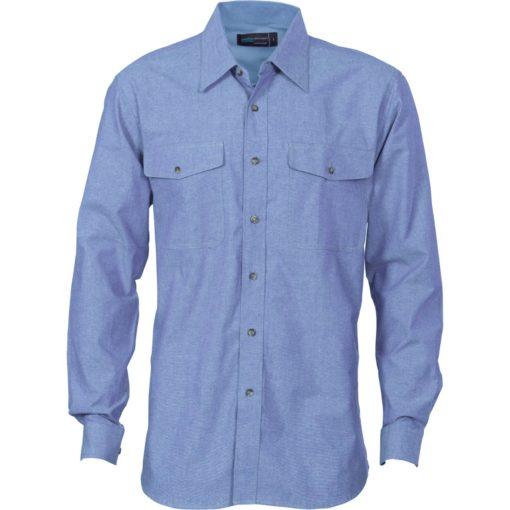Dnc Workwear Men S Chambray Long Sleeve Twin Flap Pocket Shirt Flash Uniforms And Workwear Perth Pocket Shirt Shirts Mens Workwear