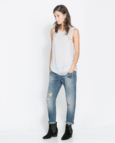 c4d8d03d98 ZARA - MUJER - PANTALÓN DENIM BOYFRIEND ROTOS Zara Mujer Pantalones
