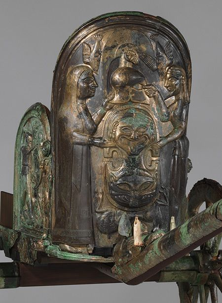 Etruscan Chariot, late 6th century b.c. From Monteleone, Italy Bronze H. 51 1/2 in. (130.8 cm) The principle subjects on the three parts of the chariot box refer to the life of a hero, most likely Achilles. In the center, Achilles receives armor from Thetis, his mother.