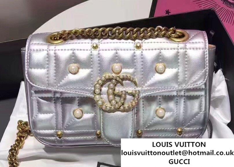 35203c06293b Gucci GG Marmont Matelass Chevron Mini Chain Shoulder Bag 446744 Pearls  Studs Silver 2017