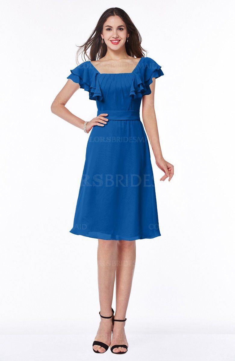 99bde805391f ... color Short Sleeve - Page 2. Royal Blue Simple A-line Portrait Knee  Length Ribbon Plus Size Bridesmaid Dresses (Style D94992)