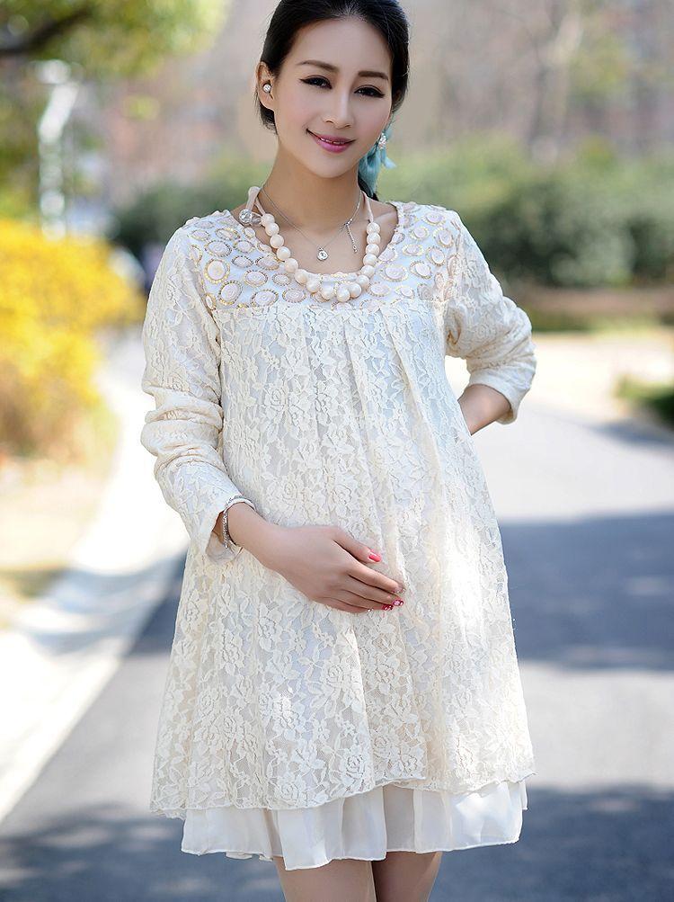 fd409e894f45d Autumn Pregnant Women Round Neck Long Sleeve Lace Dress   Maternity ...