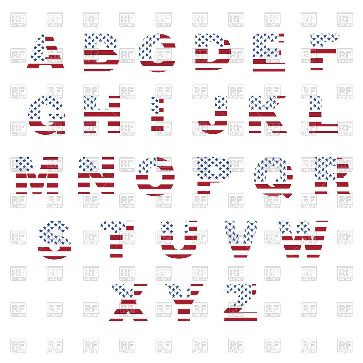 alphabet with pattern of usa flag royalty free vector clip art image 73013 rfclipart [ 1200 x 1200 Pixel ]