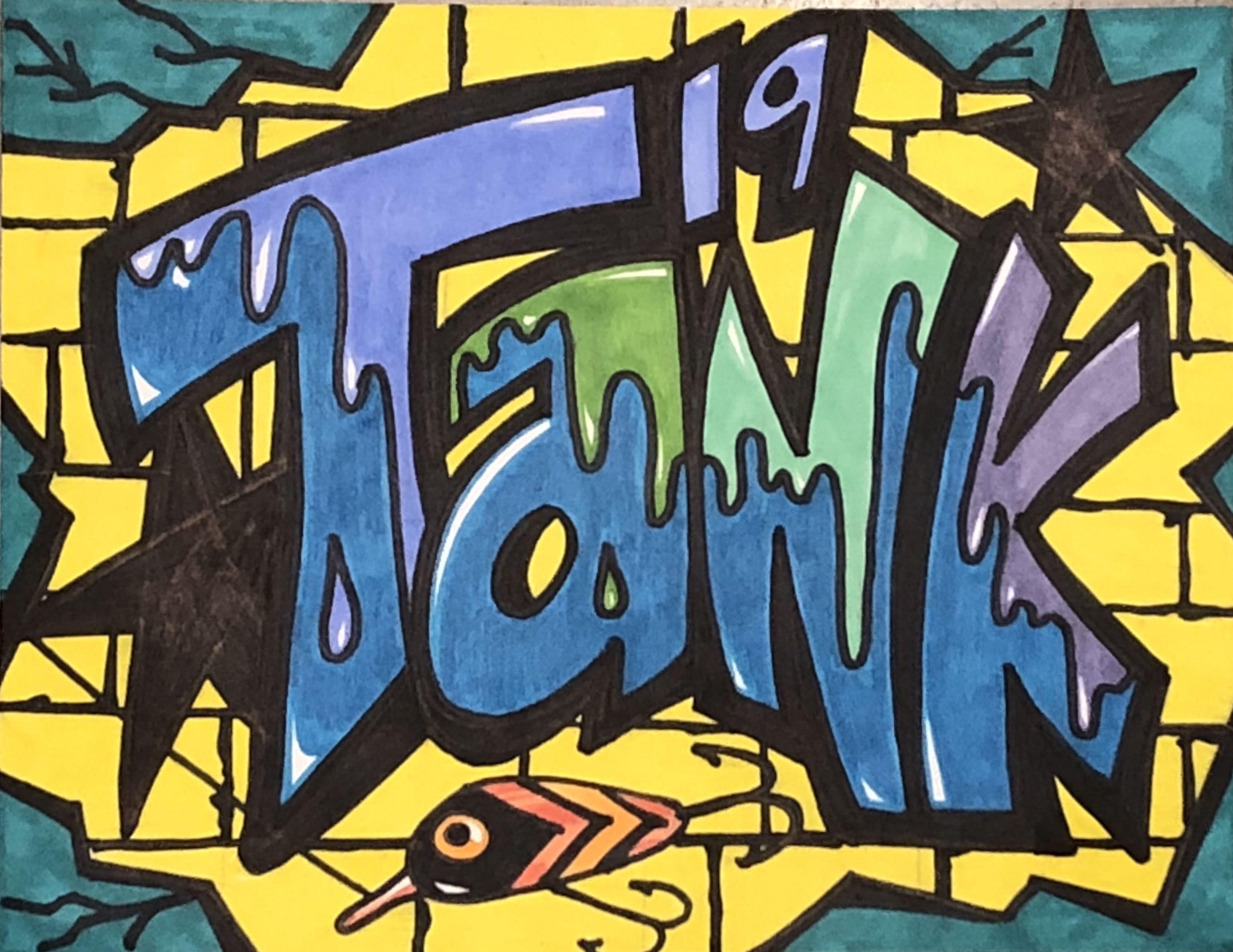 Graffiti name tank art lesson at corsicana middle school in corsicana texas