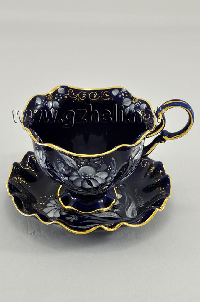 Чайная пара Снежинка в кобальте. Гжельский фарфор. арт. 1311 | Гжель #teacups