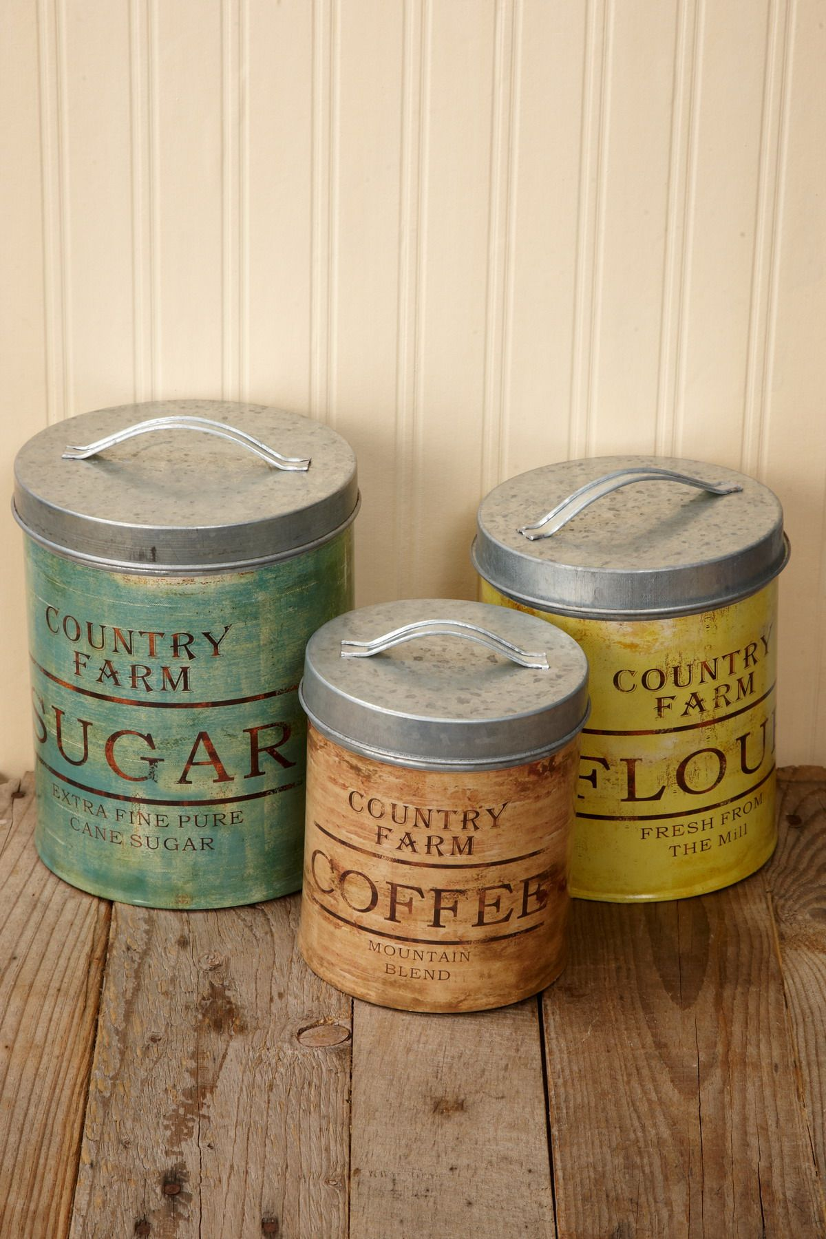 Vintage Galvanized Canister Set of 3 | Canister sets, Metals and ...
