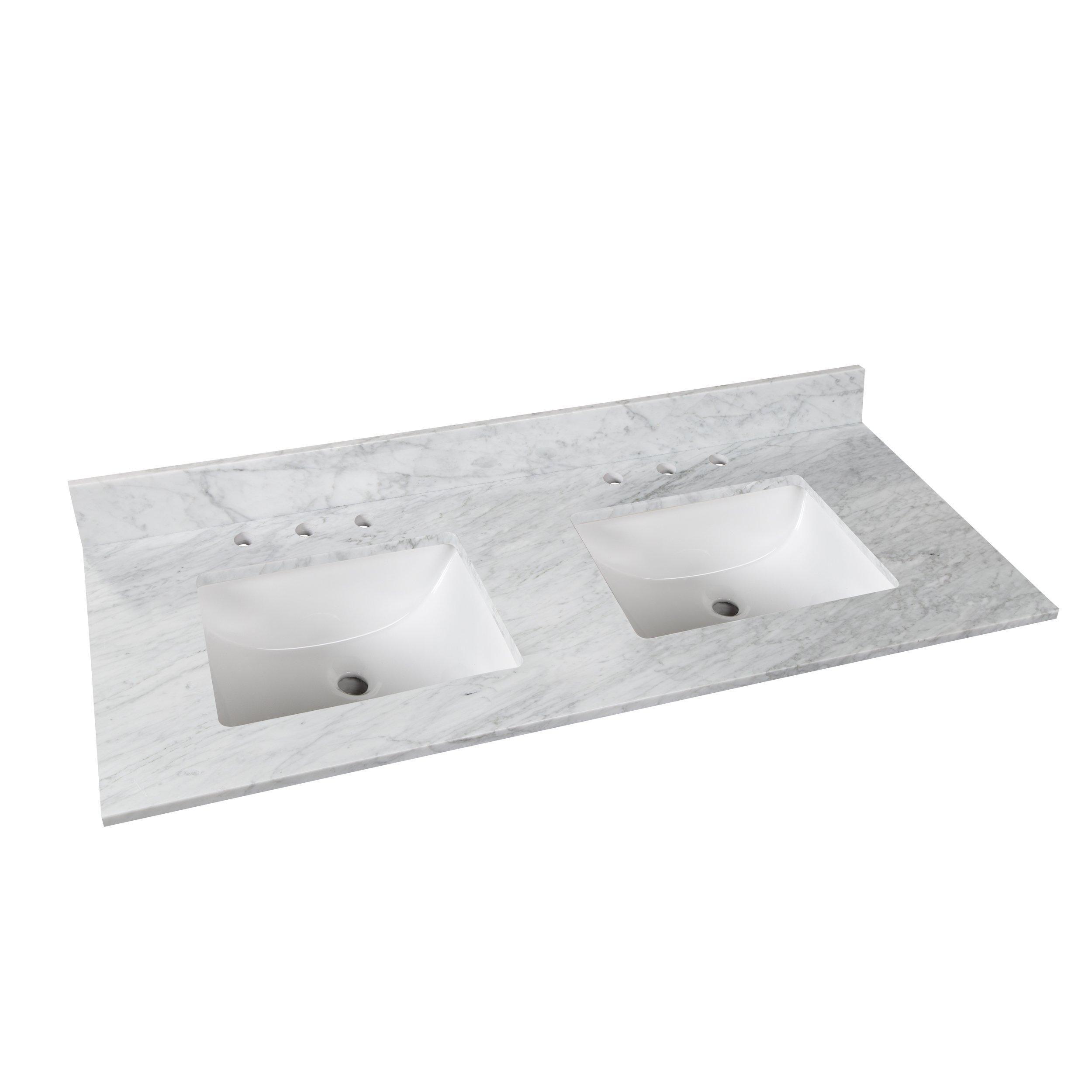 Bianco Carrara Marble 61 In Vanity Top Carrara Marble Polished Porcelain Tiles Carrara