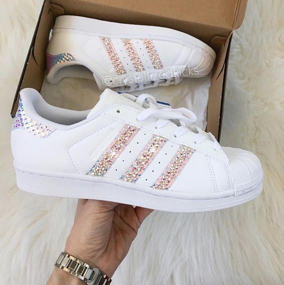 Women Youth Adidas Original Superstar Made With Swarovski Xirius Rose Crystals White Monochrome Adidas Superstar Schuhe Superstars Schuhe Und Sneakers Mode
