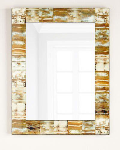 Jamie Young Natural Faux Horn Mirror Neutral Mirrors Hexagon Mirror Mirror Panels