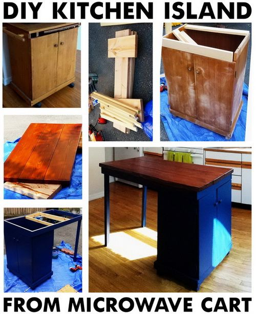Diy Kitchen Island Cart diy turn a common microwave cart into a vintage kitchen island