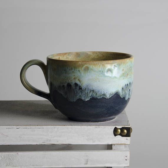Cappuccino Mug, Baby Ceramic Mug, Small Mug, Blue Pottery, Artisan Coffee Cup, Dark Blue Coffee Cup, #coffeecup