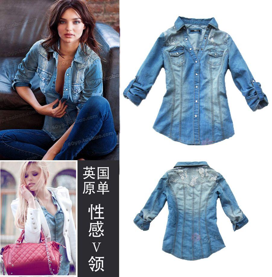 free shipping jane norman spring autumn sexy lace denim shirt plus