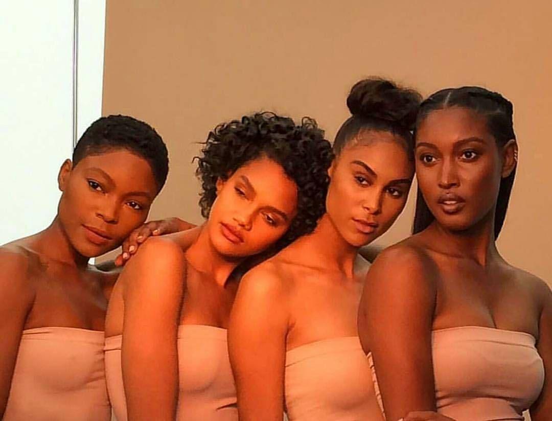 Beautiful black girls kissing