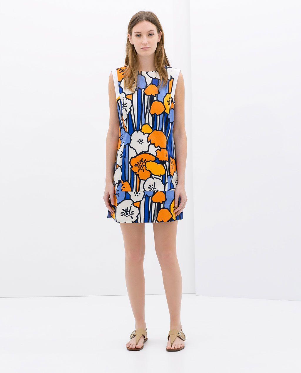 Vestido azul flores naranjas zara