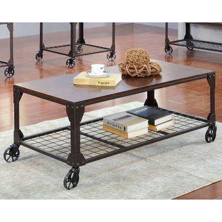 Furniture Of America Karina Industrial Style Coffee Table (Oak U0026 Metal),  Brown