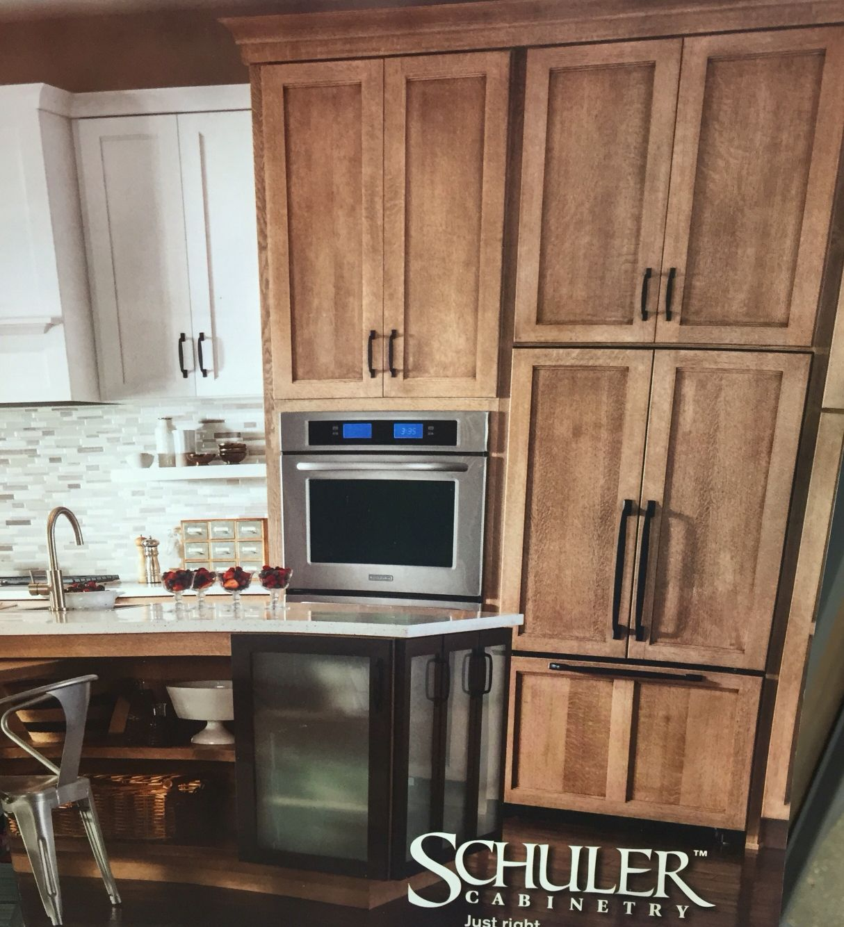 Schuler Cabinet: White And Natural Wood Color