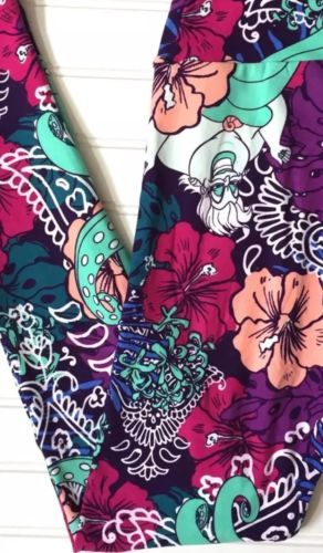 70f262bb5e6a65 Leggings 169001: New Lularoe Disney Villains Ursula Little Mermaid Os  Leggings Hibiscus Flowers -> BUY IT NOW ONLY: $85 on eBay!