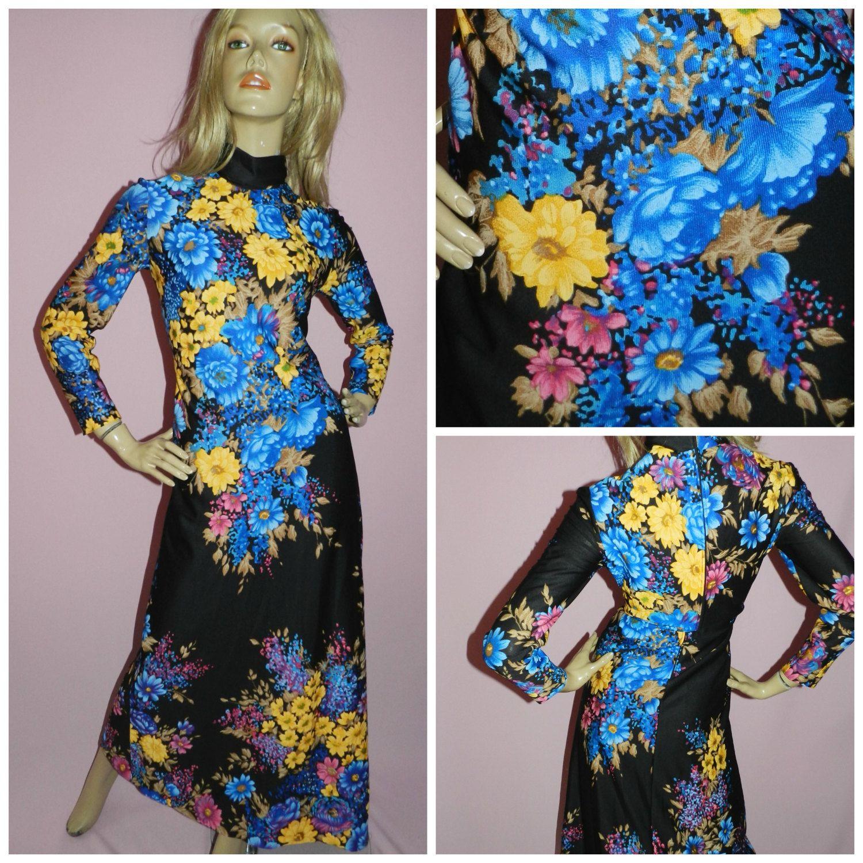 Vintage 60s Brown Tan FLOWER POWER Print MOD Scooter Dress 12-14 M 1960s Modette Kitsch Mini
