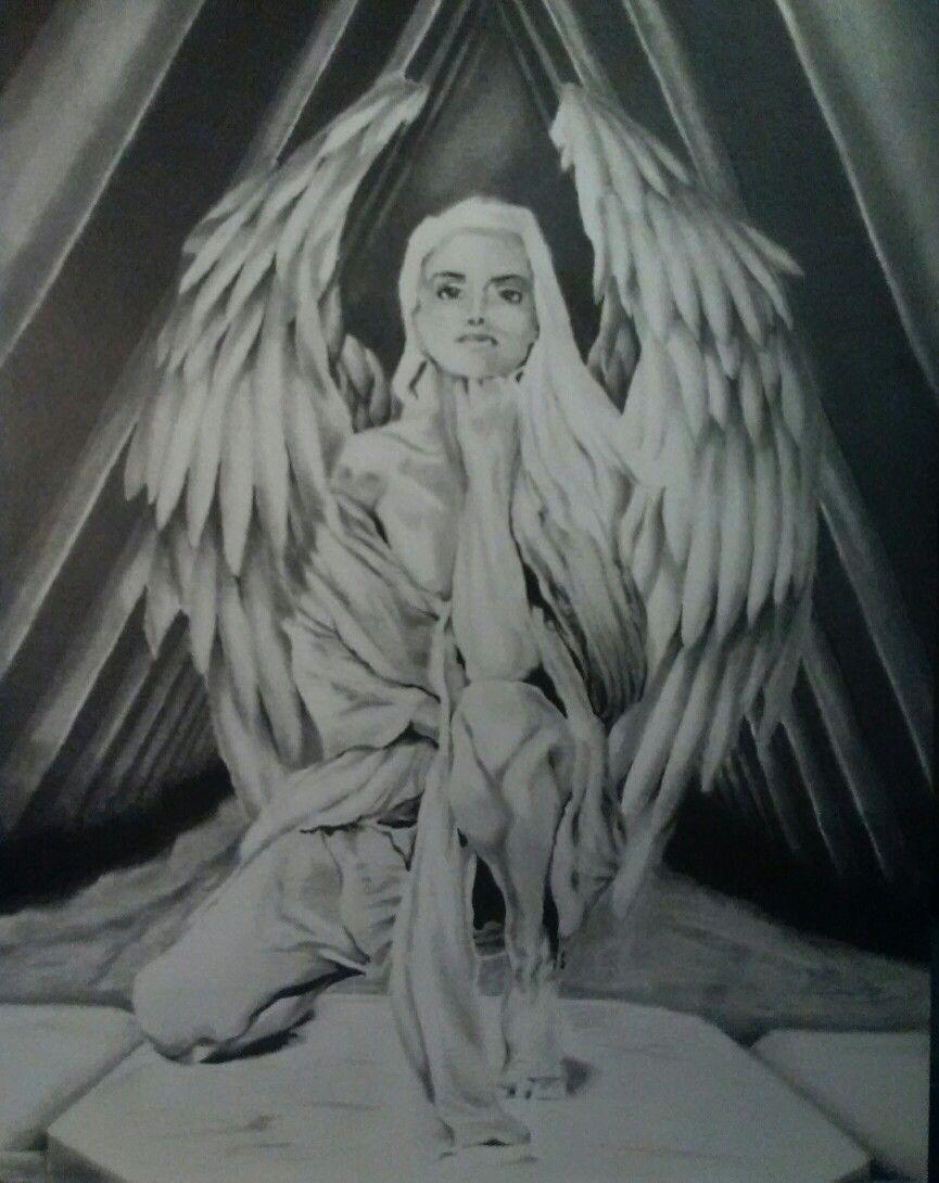 Dark Angel Pin-Up Girl 8.5x11 Original Drawing Colored Pencil