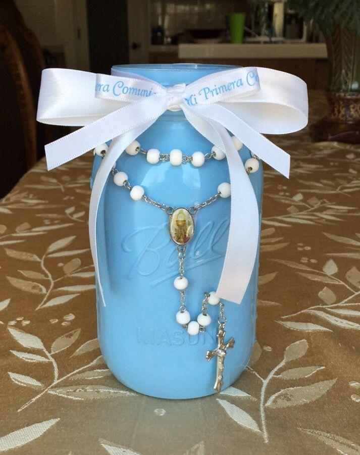 First communion mason jar centerpiece littlemissaubrey for First communion craft ideas
