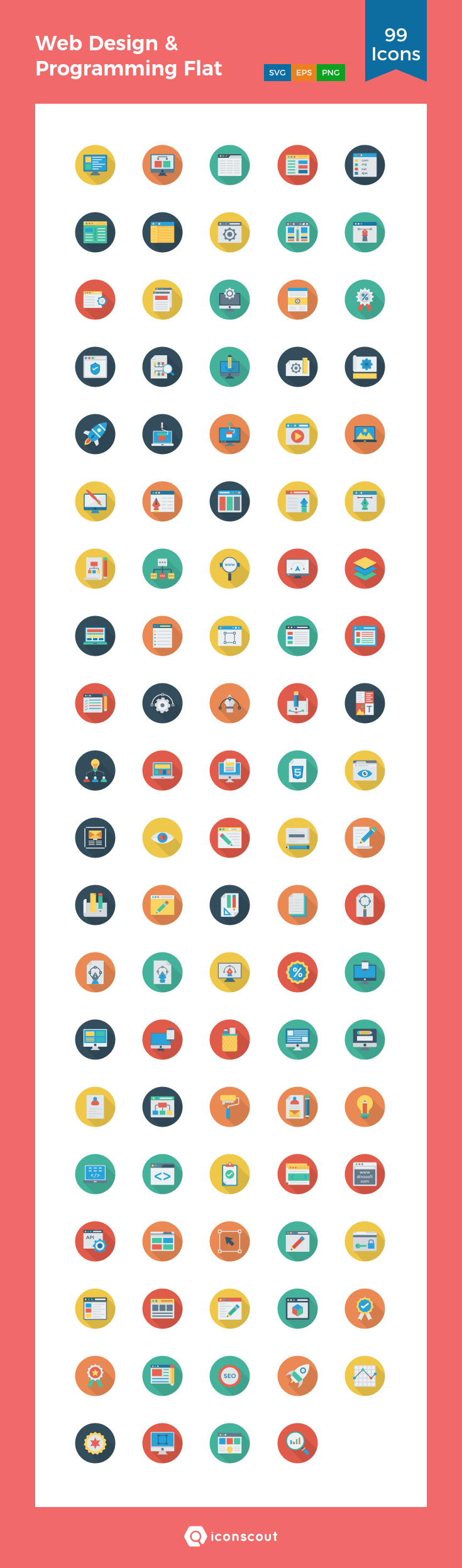 Download Web Design Programming Flat Circle Icon Pack Available In Svg Png Eps Ai Icon Fonts Icon Pack Icon Icon Font