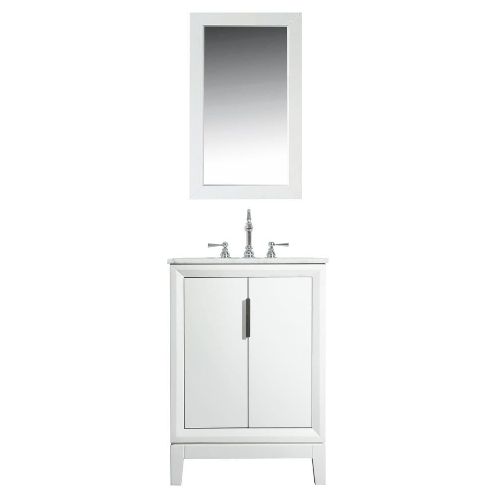 Water Creation Elizabeth 24 In Bath Vanity In Pure White With Carrara White Marble Vanity Top With Ceramics White Basins And Faucet Vel024cwpw47 Marble Vanity Tops Bath Vanities Vanity