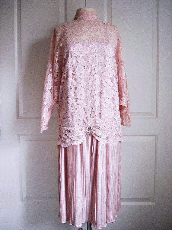 1989e528a0c Vintage 80s does 20s flapper dress  pastel pink lace  NWT NOS  mother of  the bride  Patra  floral Chantilly lace dress  low waist.  24.00
