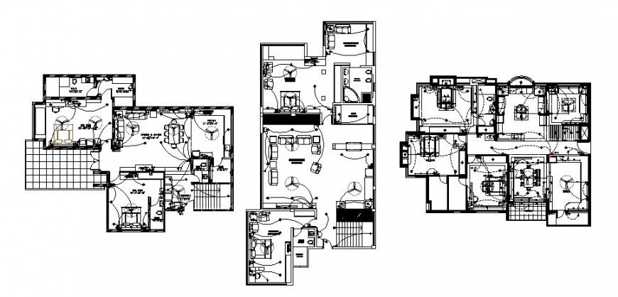 single family house plan details with electrical layout plan cad